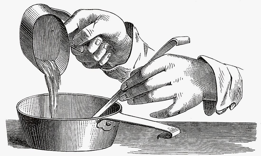 Thickening a dessert (Illustration)