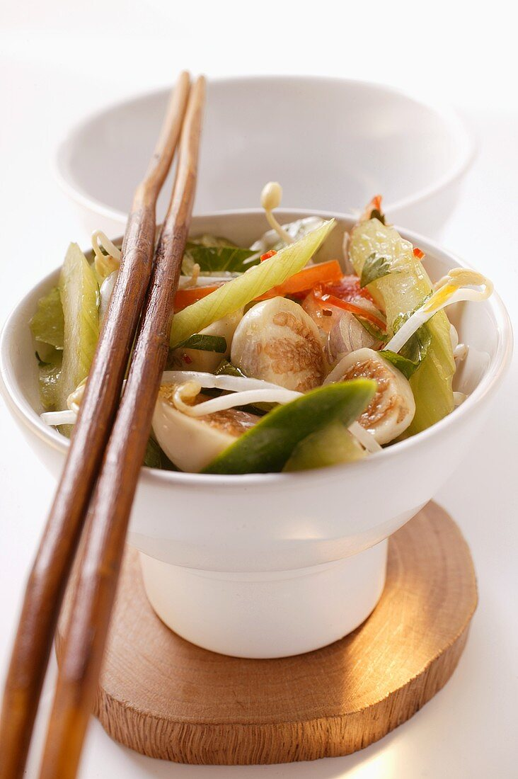 Asian vegetable salad with sprouts and Thai aubergines