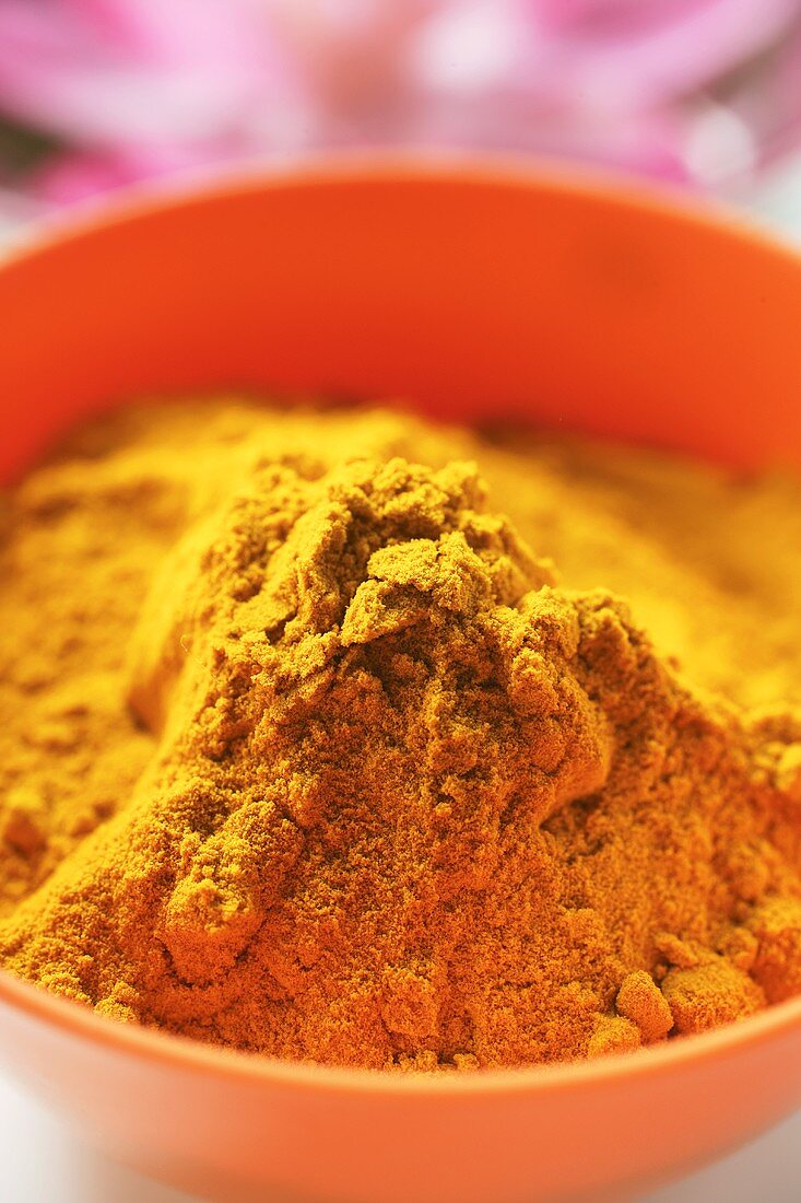 Turmeric in orange bowl