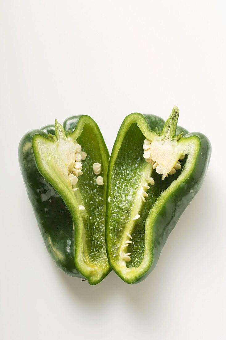 Green pepper (Poblano from Mexico), halved
