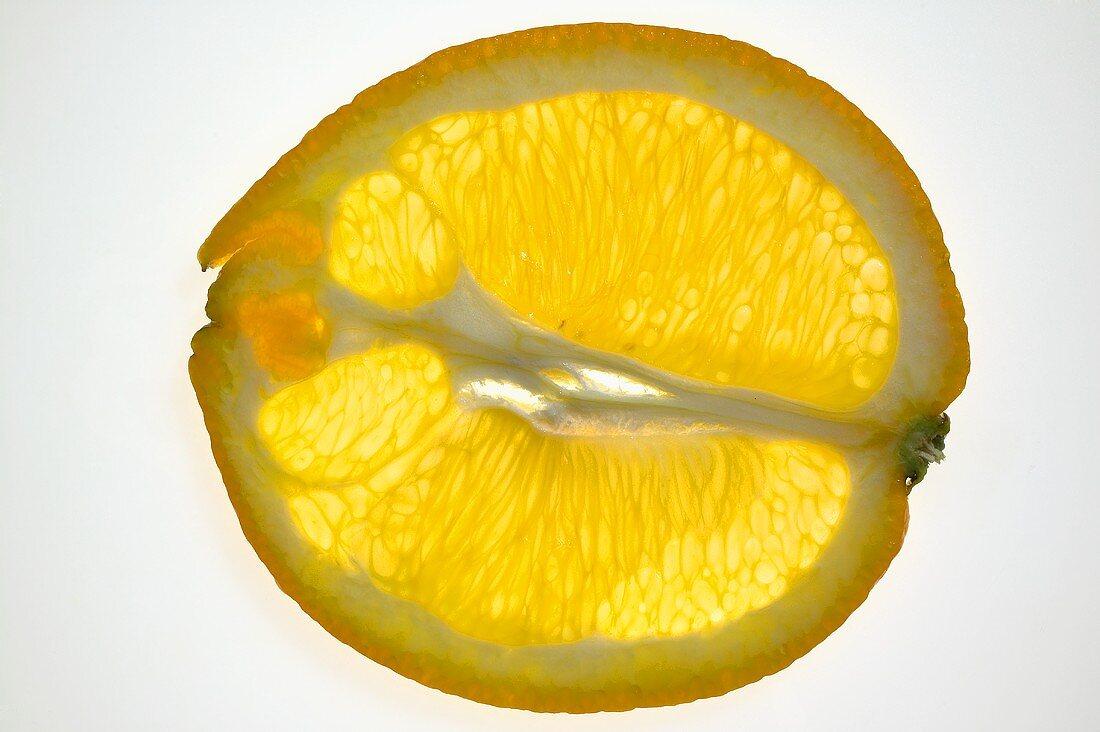 Orange (lengthwise slice), backlit