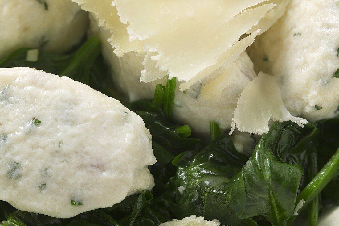 Ricotta & mortadella gnocchi with spinach & Parmesan (detail)