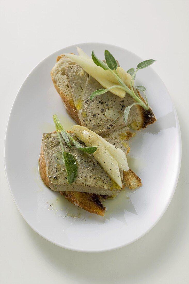 Chicken liver terrine with asparagus & sage on bread (Veneto)
