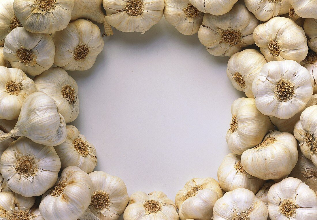 Dried garlic laid around the edge of the picture
