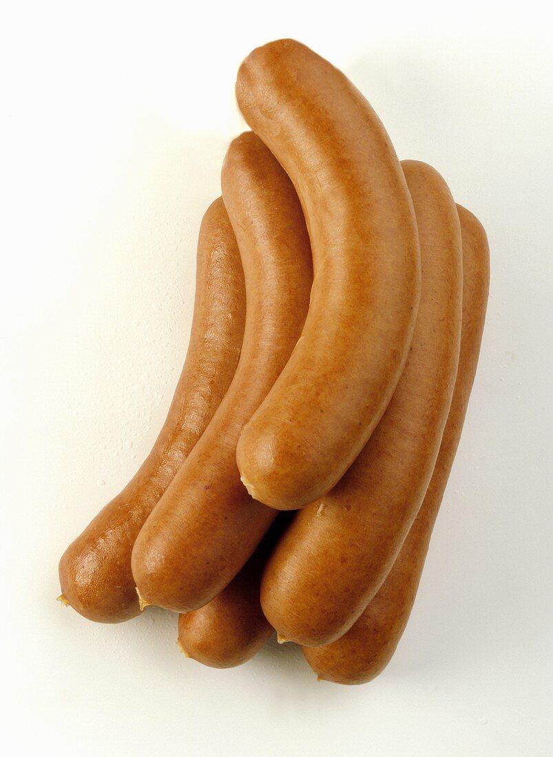 Several Bockwurst sausages