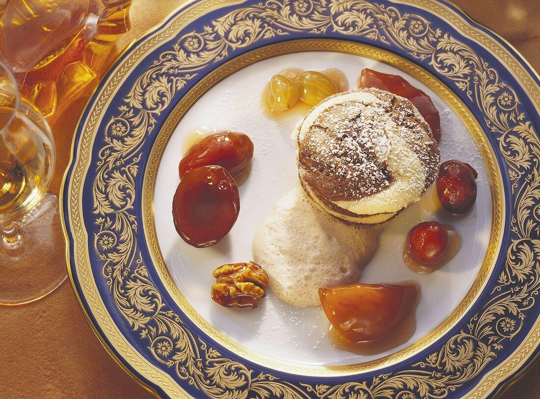Marbled Vanilla Souffle; Walnut Sauce