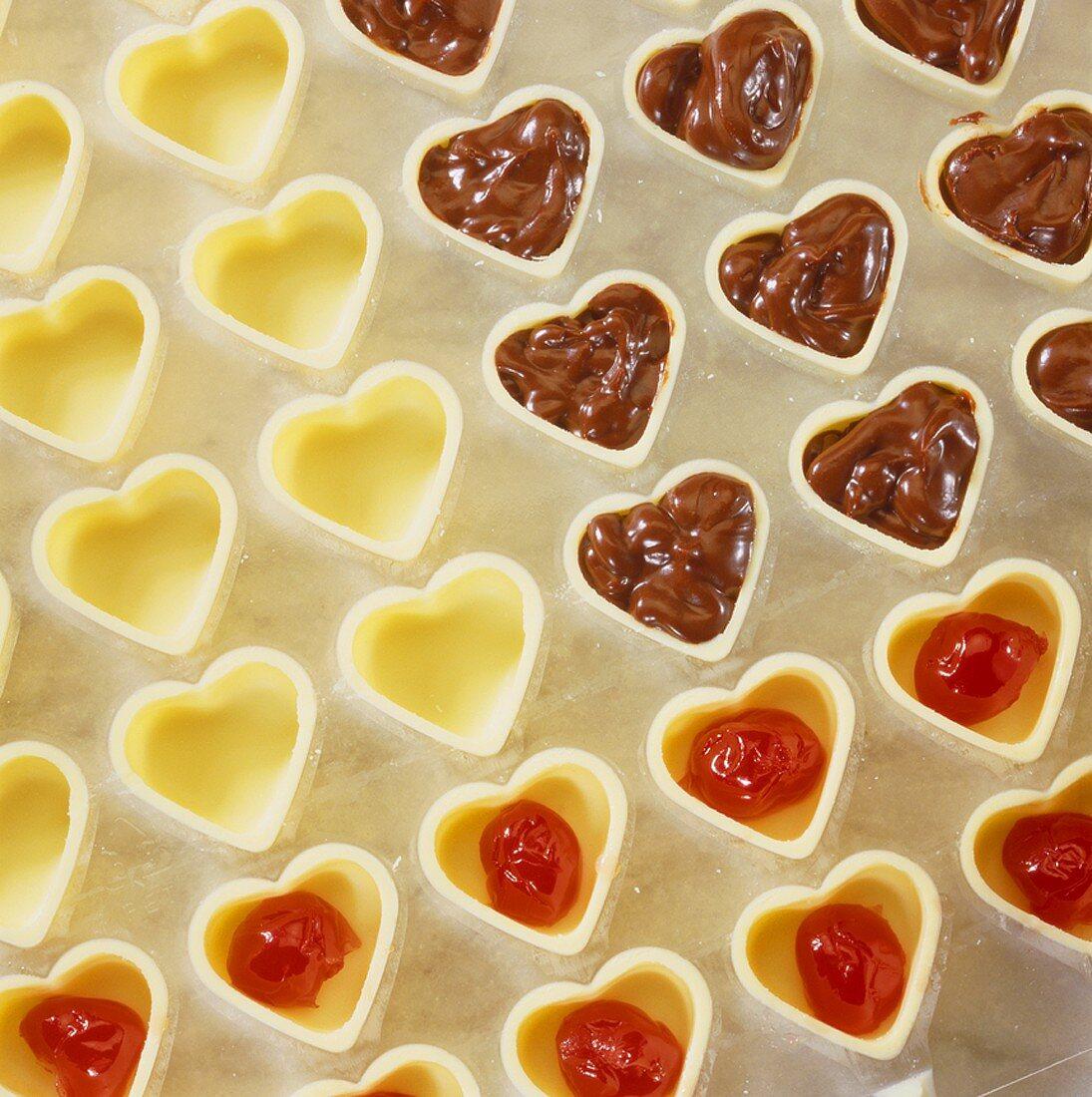 Making chocolates: making cherry truffle hearts