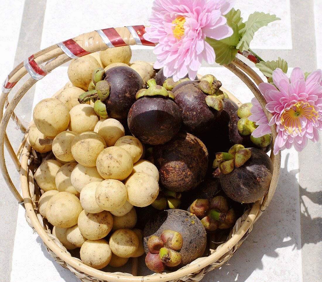 Thai gift basket of longans and mangosteens