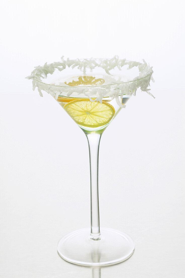 Sambuca (anise liqueur, Italy) with lemon & grated coconut