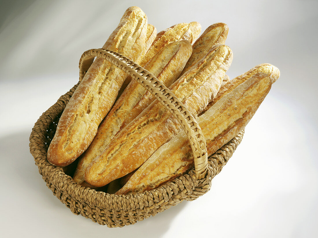 Crusty French loaves in a basket