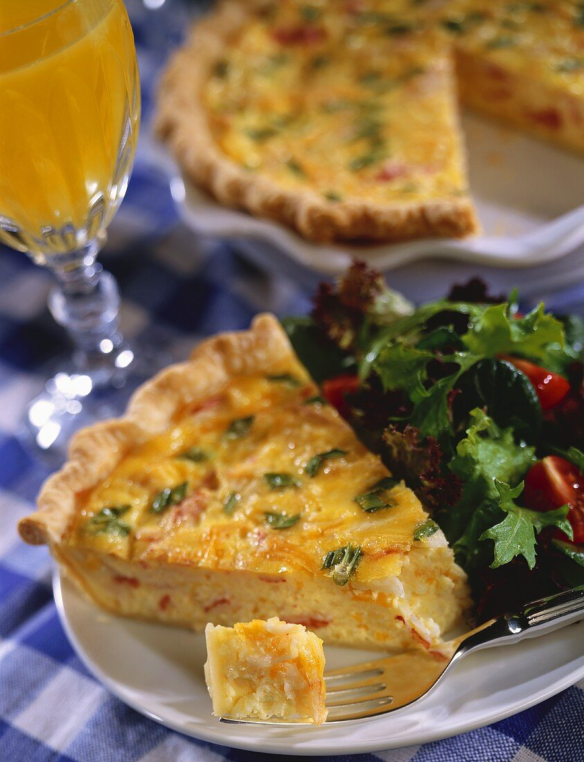 Slice of Quiche with Side Salad; Piece on Fork