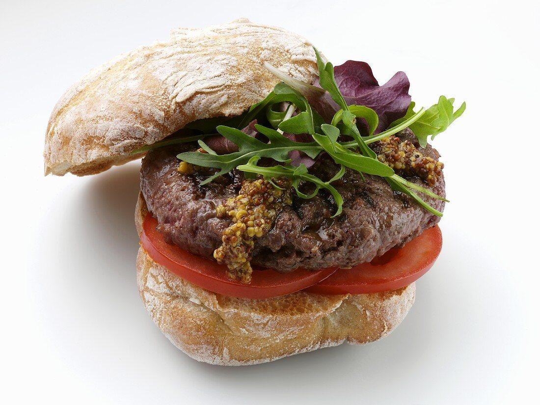 Venison burger with rocket