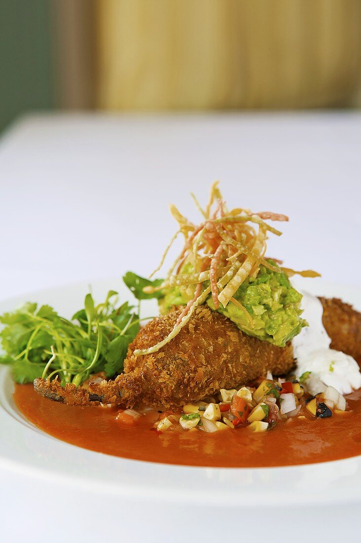Chile Relleno filled with Prawns and Scallops and topped with Corn Relish and Guacamole