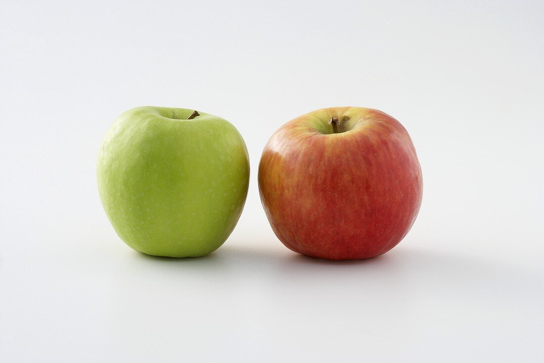 Two apples (red and green)