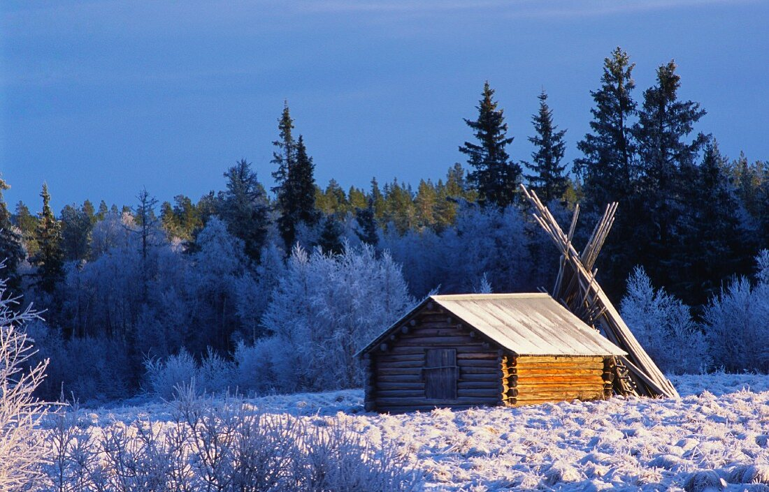 A cabin in a winter landscape