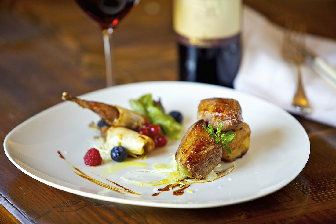 Pigeon breast with fennel and fruits of the forest