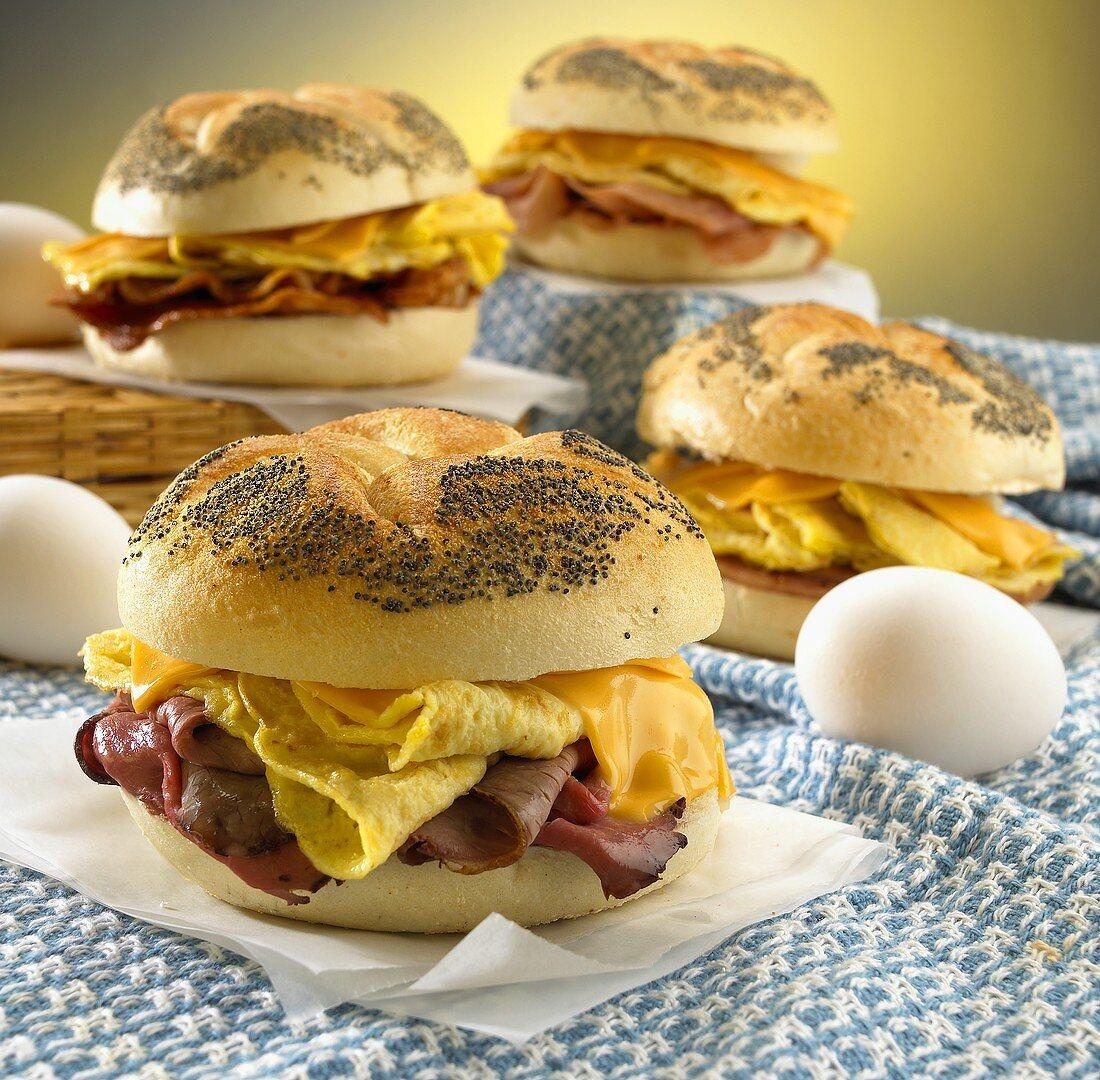 Breakfast Sandwiches on Poppy Seed Rolls