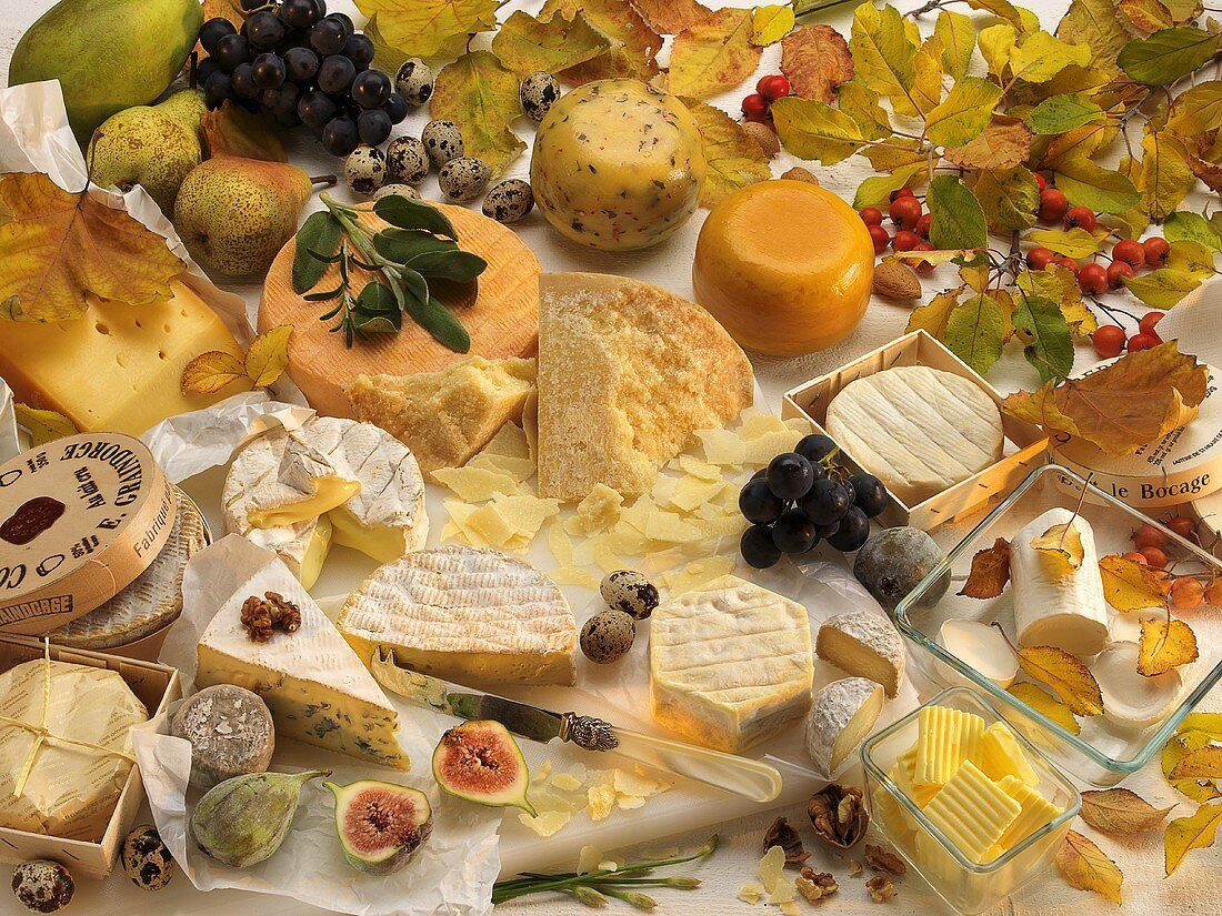 Various types of cheeses, fruit, butter, quail's eggs and autumnal leaves