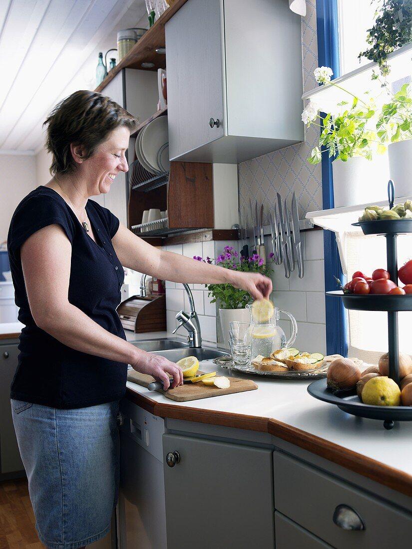 Woman making lemonade
