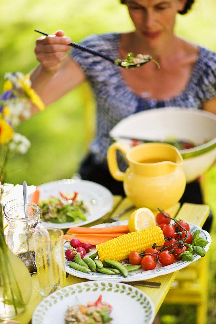 Woman serving salad