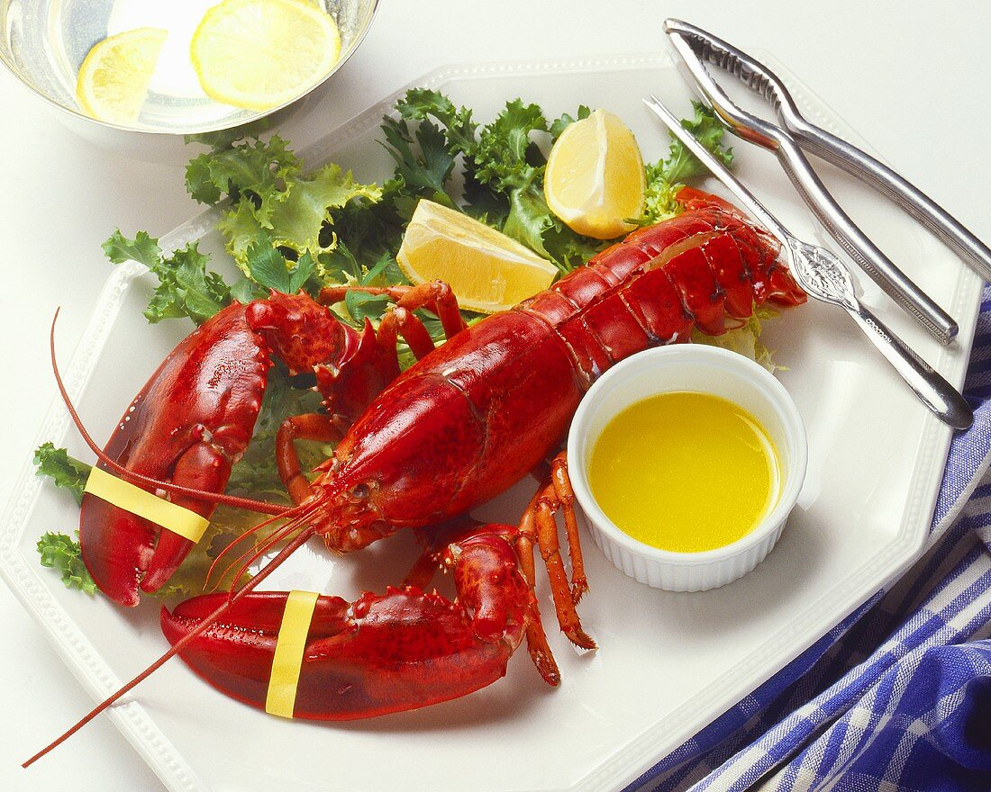 Boiled Lobster Served with Melted Butter and Lemon Wedges