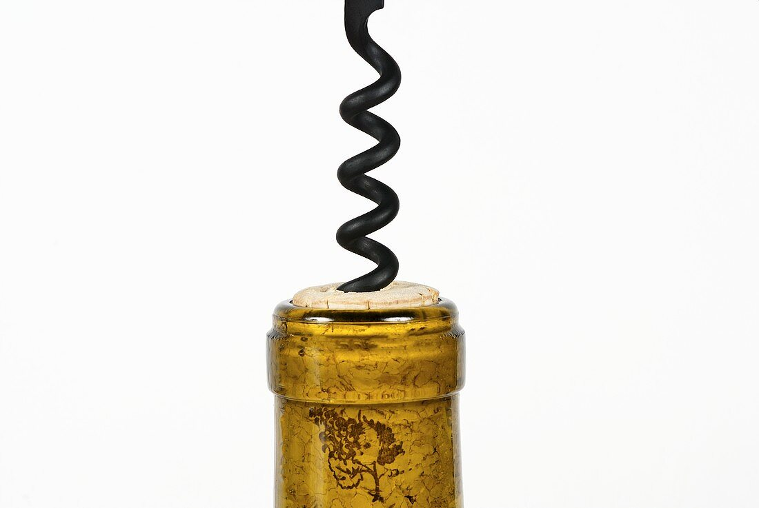 Corkscrew in Wine Bottle; White Background