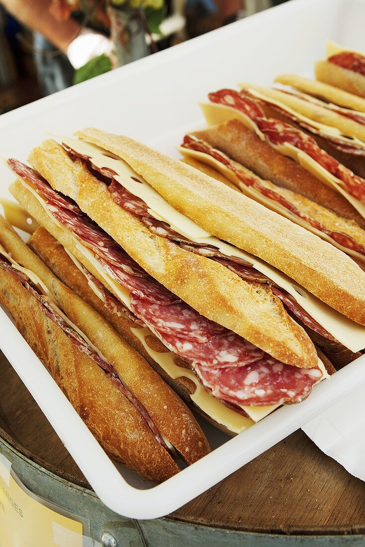 Salami and Cheese on Baguettes; Paris France Street Food