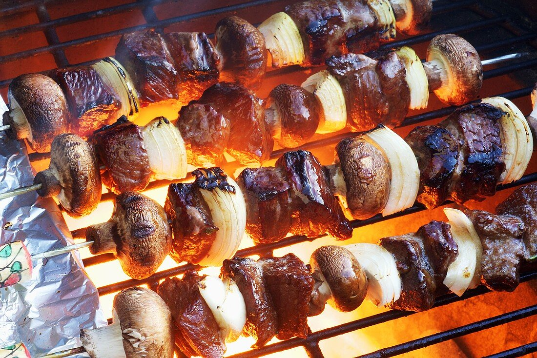 Elk Mushroom and Onion Kabobs on the Grill