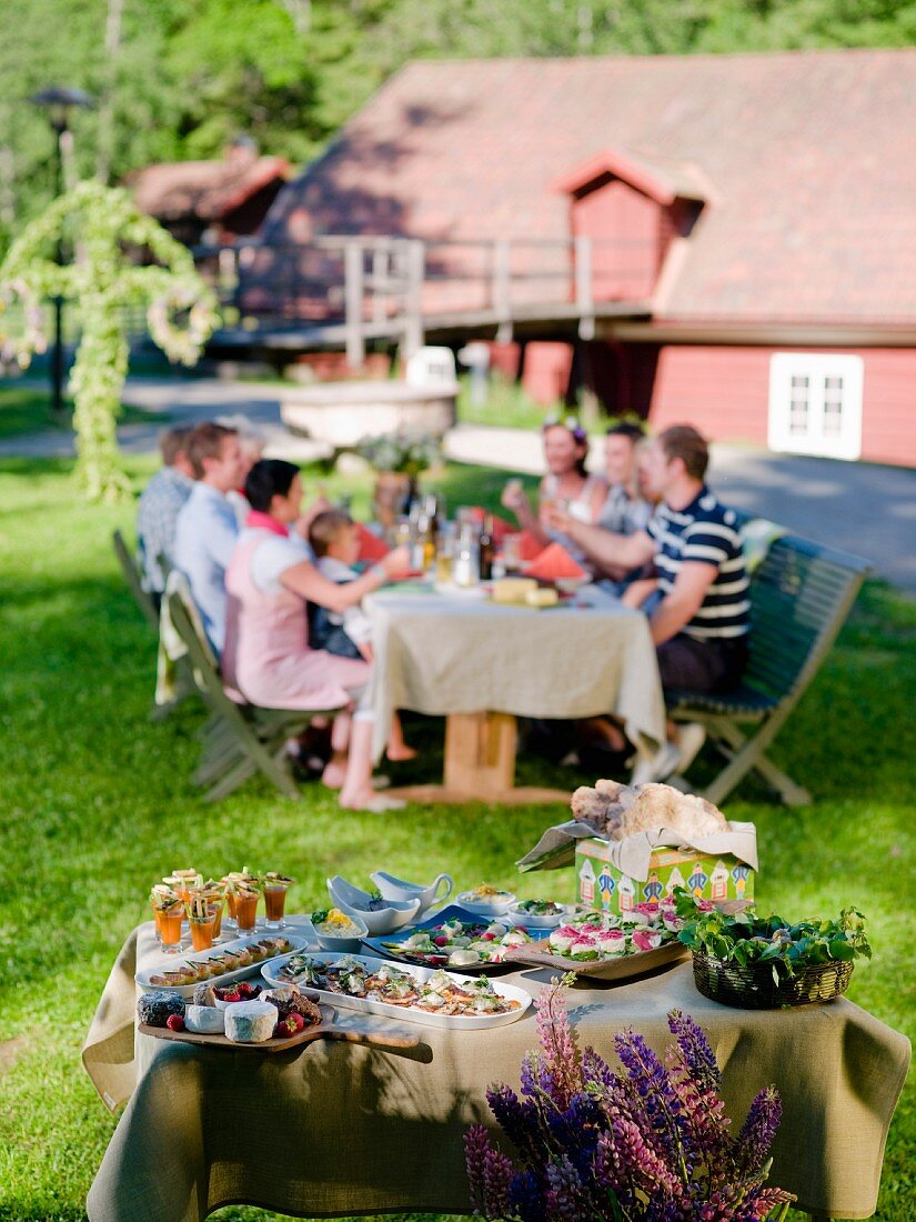 People at a mid-summer buffet in a garden