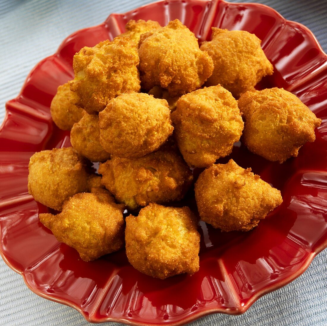 Hush Puppies on a Red Plate