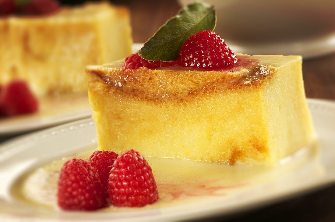 Bread pudding with Raspberries and White Chocolate Sauce