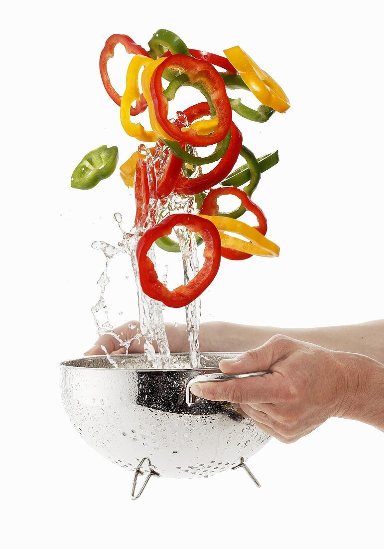 Pepper rings being washed