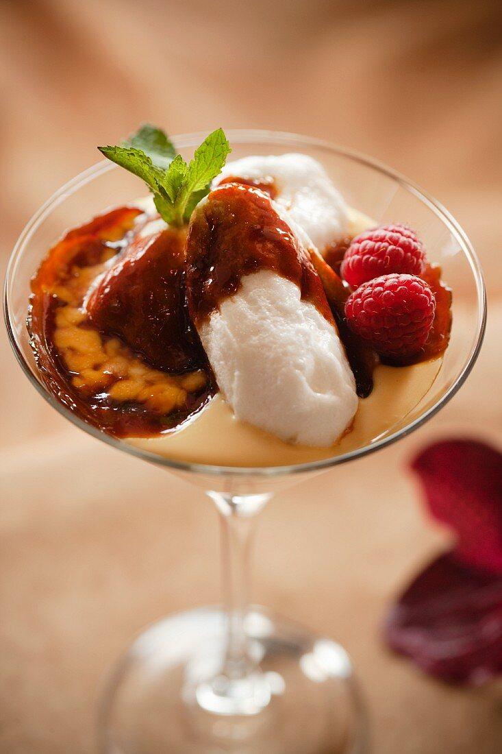 Creme Caramel in a Martini Glass with Fresh Raspberries