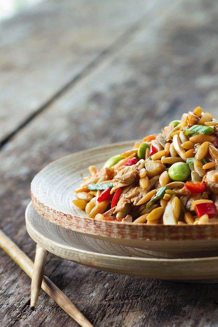 Orzo Asian Rotisserie Chicken Salad with Chopsticks