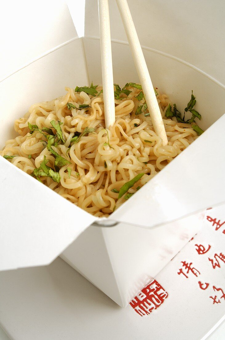 Noodle dish in lunch box (Asia)