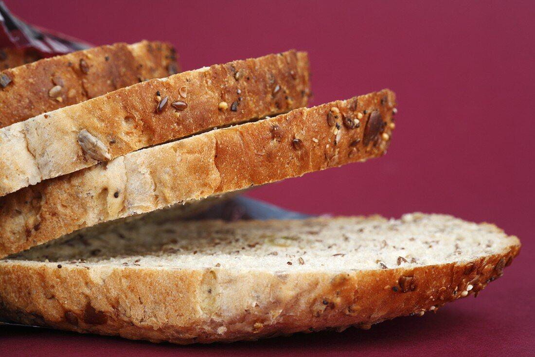 Several slices of granary bread