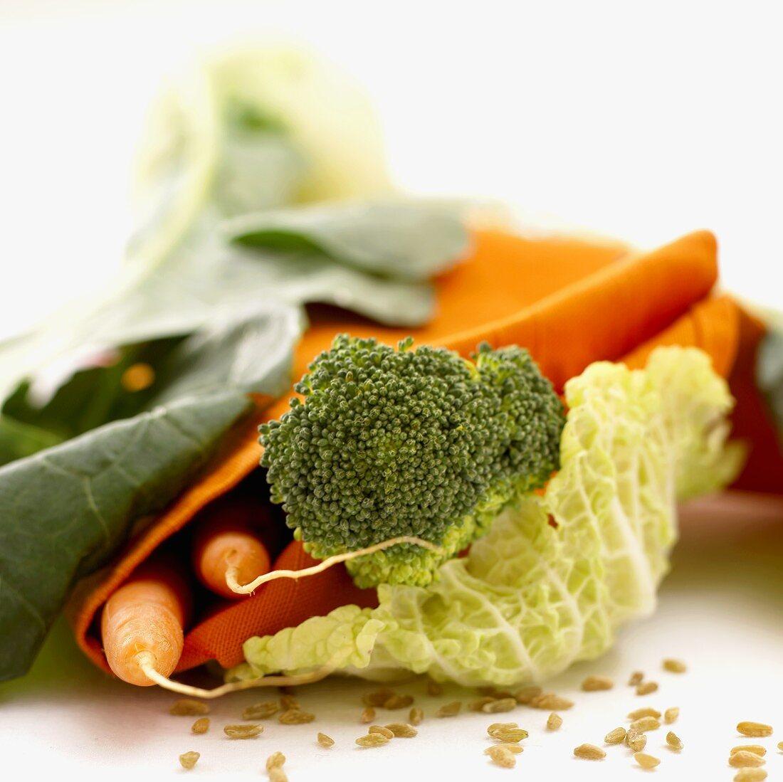 Carrots, various types of brassica & unripe spelt grains