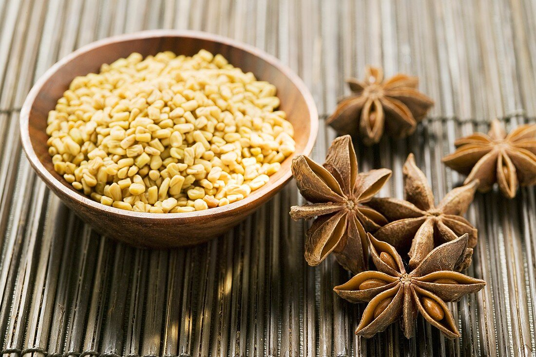Fenugreek seeds and star anise
