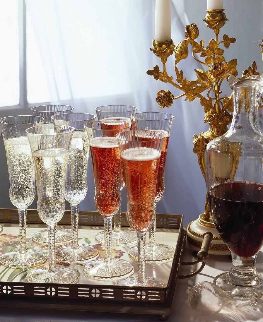 Sparkling Wine & Kir Royal on Silver Tray