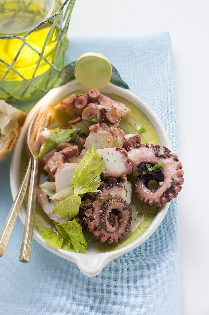 Octopus salad with celery
