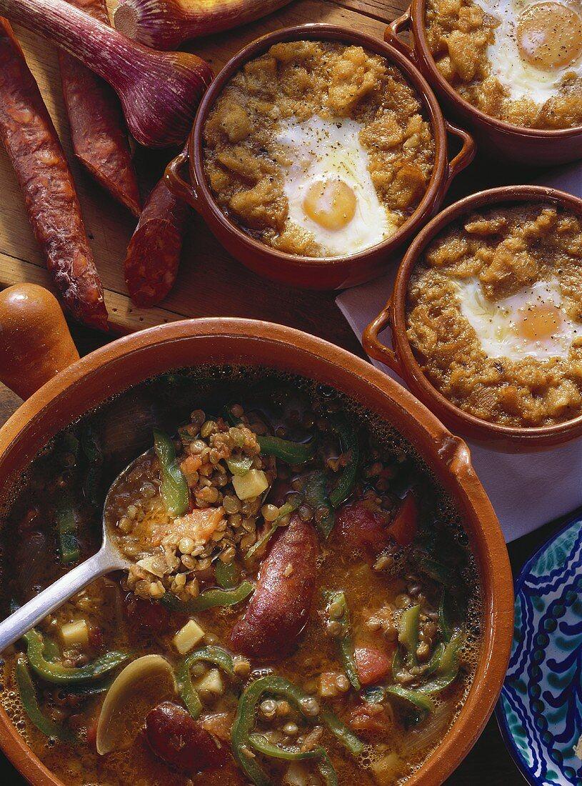 Spanish Garlic Soup & Lentil Stew