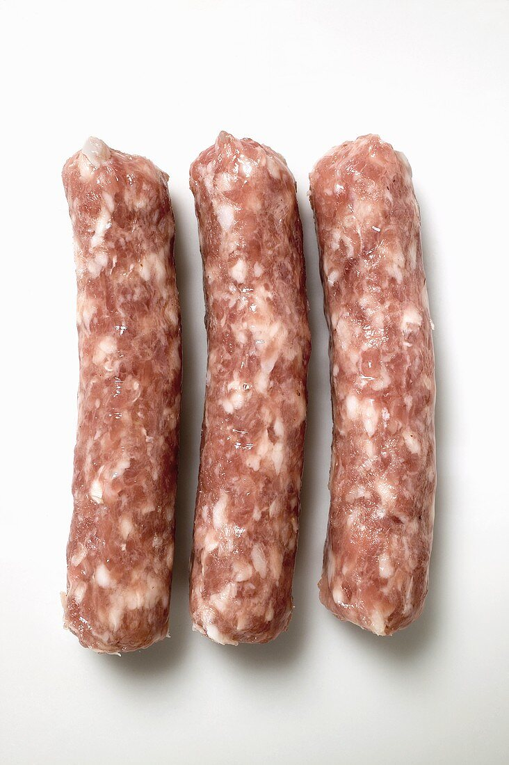 Three salsicciole (skinless sausages, Italy)