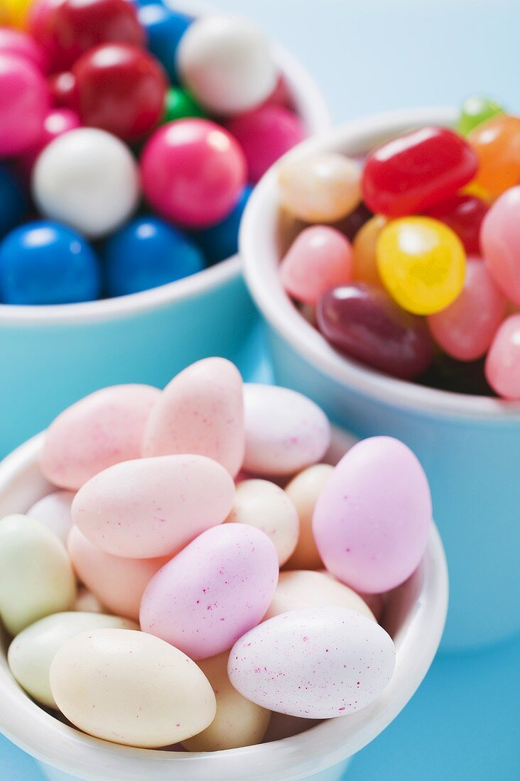 Sugared almonds, jelly beans and bubble gum