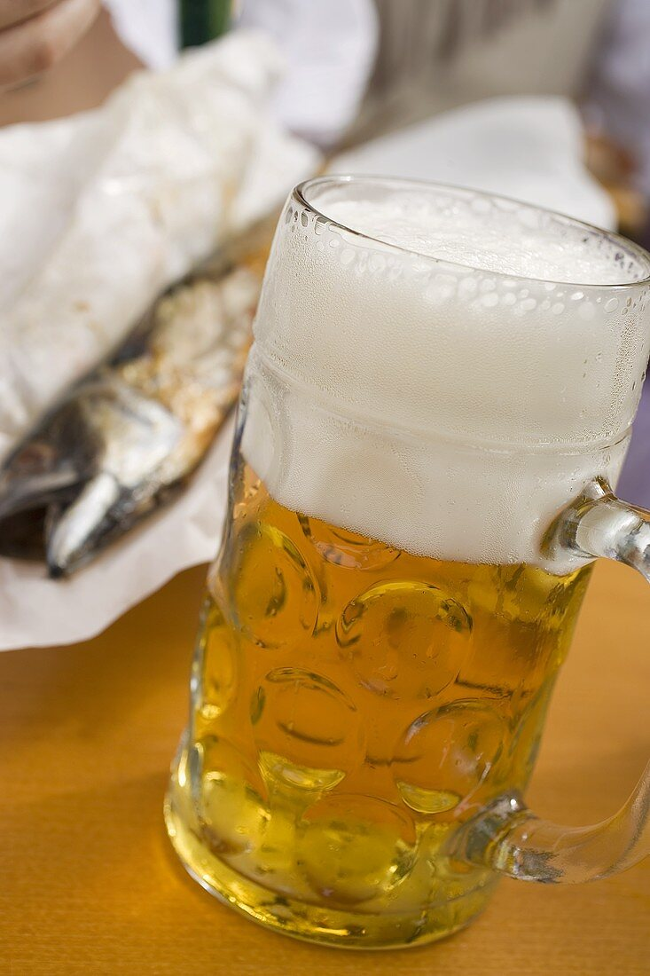 Litre of light beer & Steckerlfisch (fish on stick, Oktoberfest, Munich)