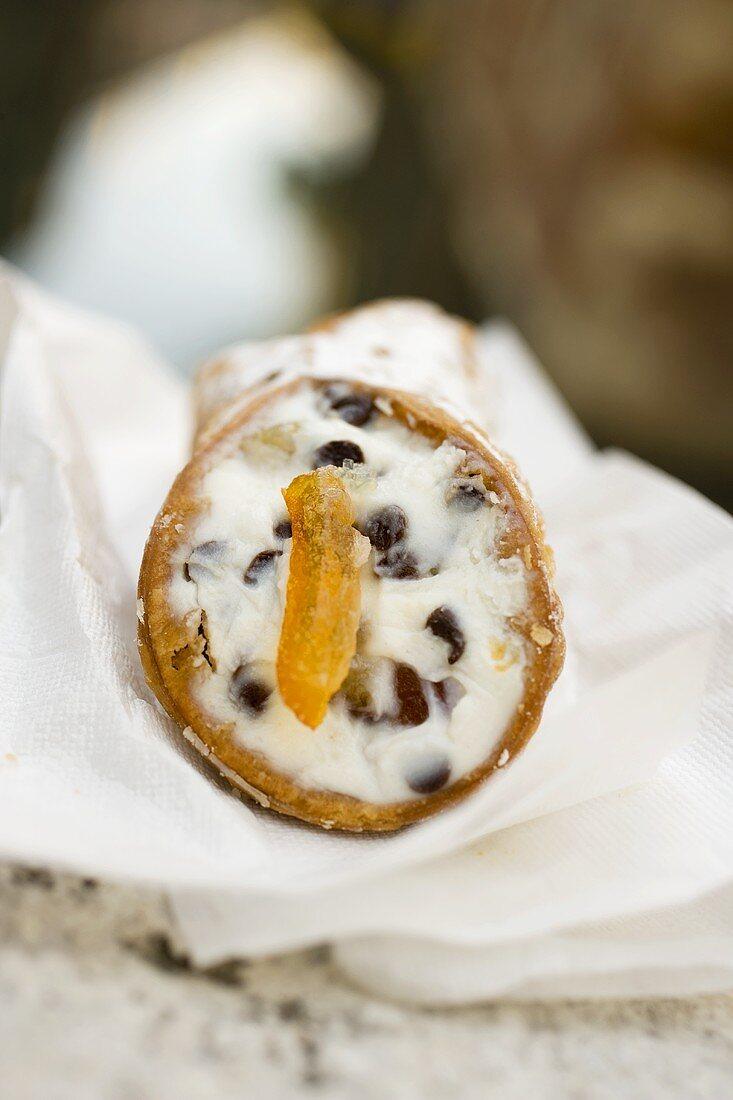 Stracciatella roll (Italy) on a market stall