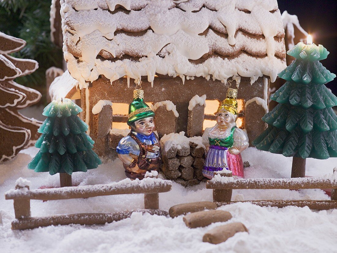 Gingerbread house with Christmas tree ornaments