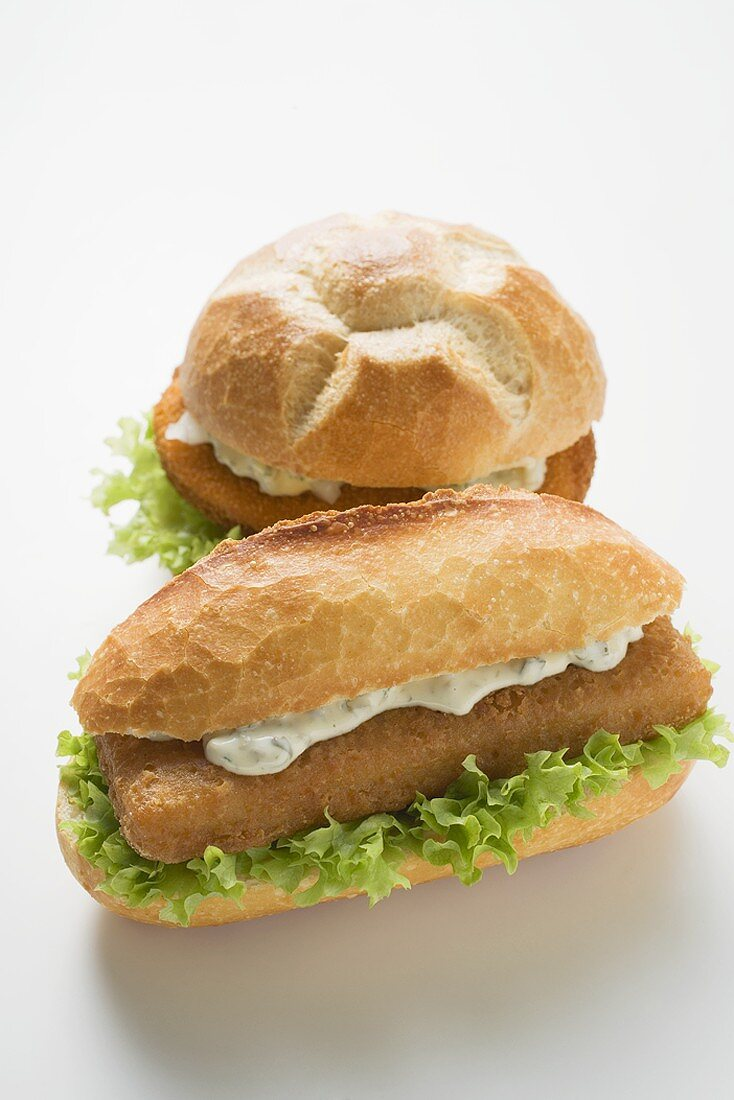 Two schnitzel rolls with remoulade & lettuce