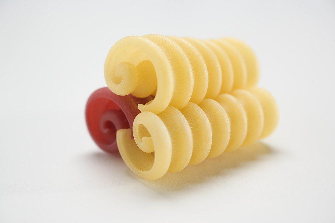 Three riccioli, red and yellow