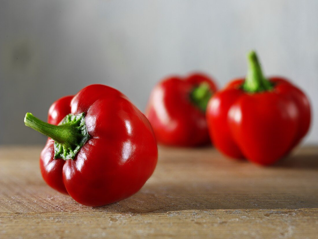 Three red peppers