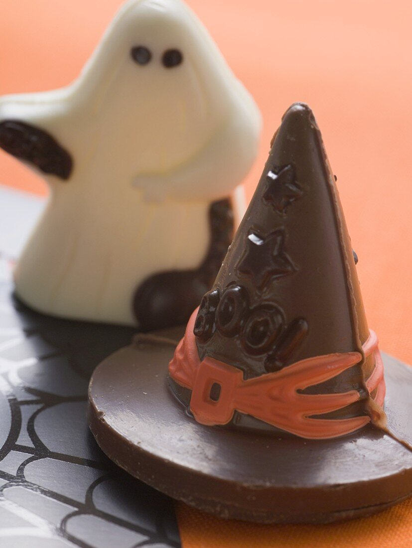 Sweets (witch's hat, chocolate ghost) for Halloween
